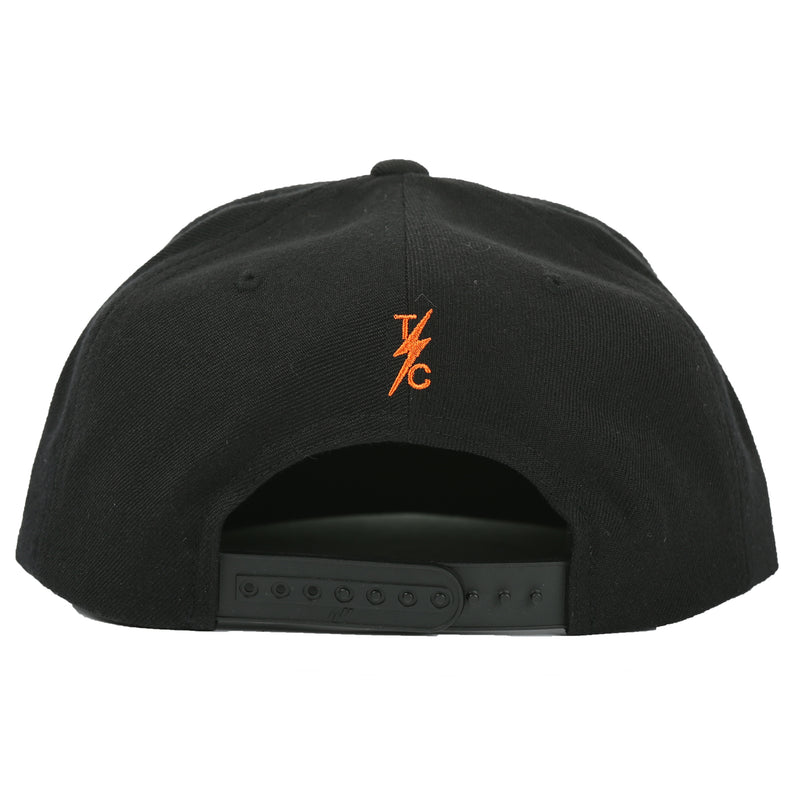 Speedway Snapback - Black (orange patch)