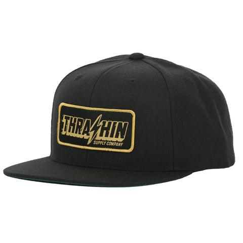 Speedway Snapback - Black (gold patch)