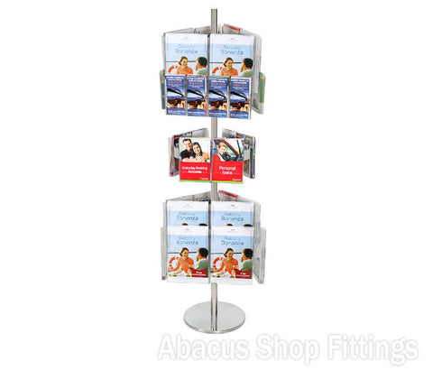 BROCHURE CAROUSEL - 12 DL, 18 A4 & A6 A5 HOLDERS ON STAINLESS STEEL CAROUSEL