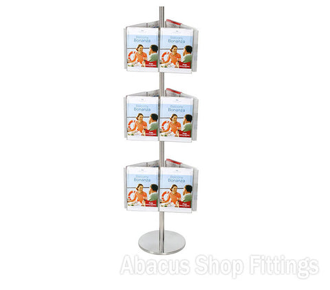BROCHURE CAROUSEL - 18 A4 HOLDERS ON STAINLESS STEEL CAROUSEL