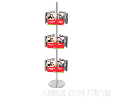 BROCHURE CAROUSEL - 18 A5 HOLDERS ON STAINLESS STEEL CAROUSEL