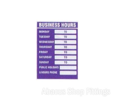 SHOWCARD - BUSINESS TRADING HOURS