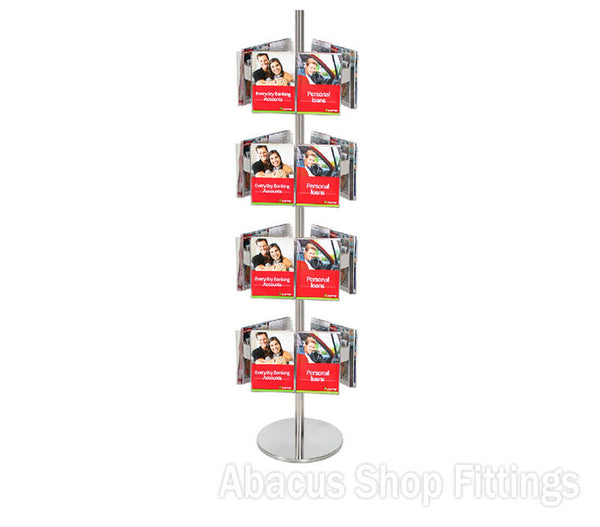 BROCHURE CAROUSEL - 24 A5 HOLDERS ON STAINLESS STEEL CAROUSEL