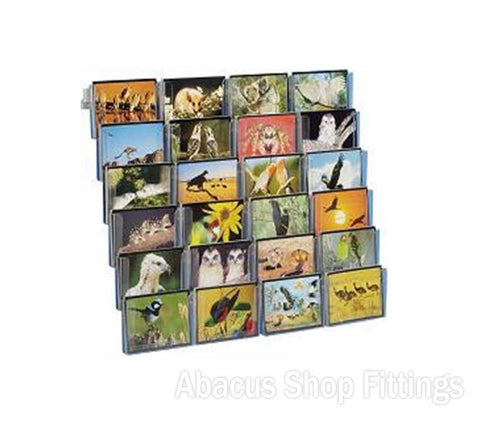 POSTCARD WALL DISPLAY - 24 HORIZONTAL HOLDERS