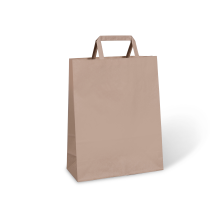 FLAT FOLD HANDLE BAGS #60 BROWN CTN/250
