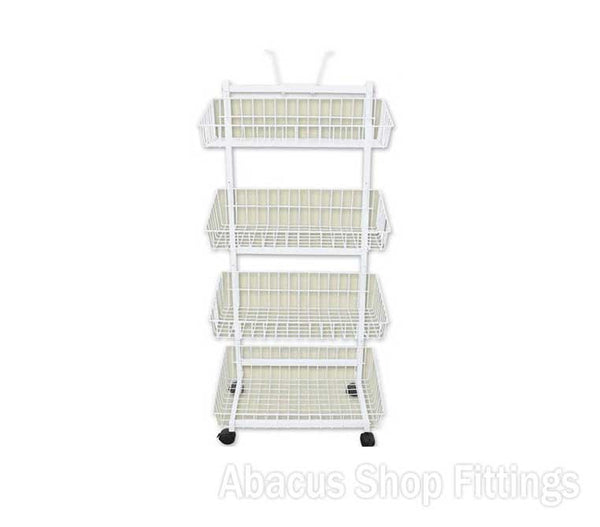 WIRE BASKET STAND - 4 TIER WHITE