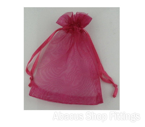 ORGANZA BAG 7X9CM HOT PINK PKT/10