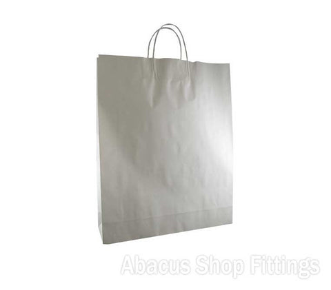 KRAFT PAPER BAG WHITE - MEDIUM Pkt/50