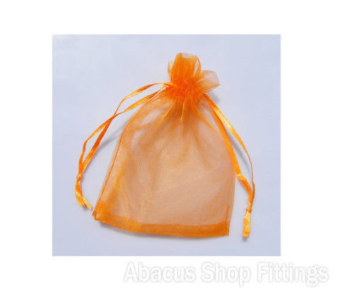 ORGANZA BAG 7X9CM ORANGE PKT/10