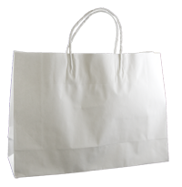 KRAFT PAPER BAG WHITE - SMALL BOUTIQUE pkt/50