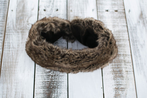 Faux Fur Snapback Infinity Scarf