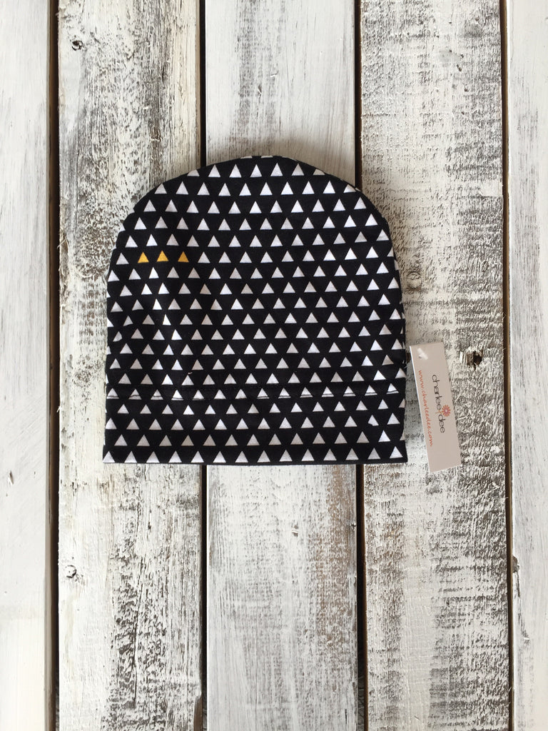 Black with White Triangles Beanie