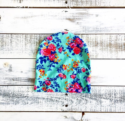 Aqua Floral Beanie (2T-child only)