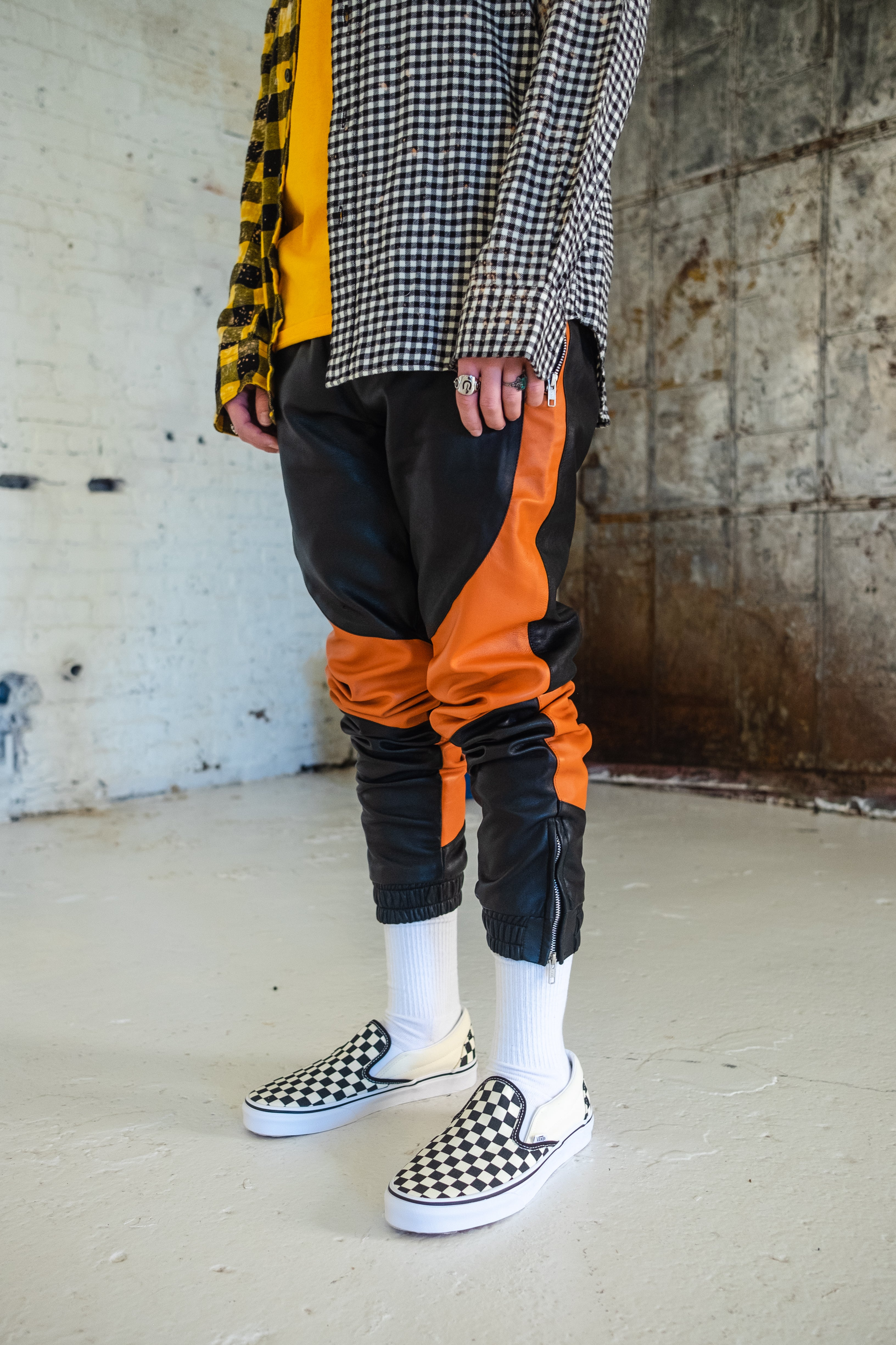 H E I R S 'SkyDweller' Leather Legacy Track Pants (Shattered)