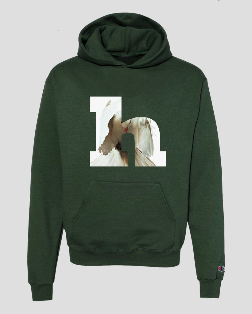 HEIRS 'Angel Number' - N°8 Logo Letter Hooded Sweatshirt (Green)