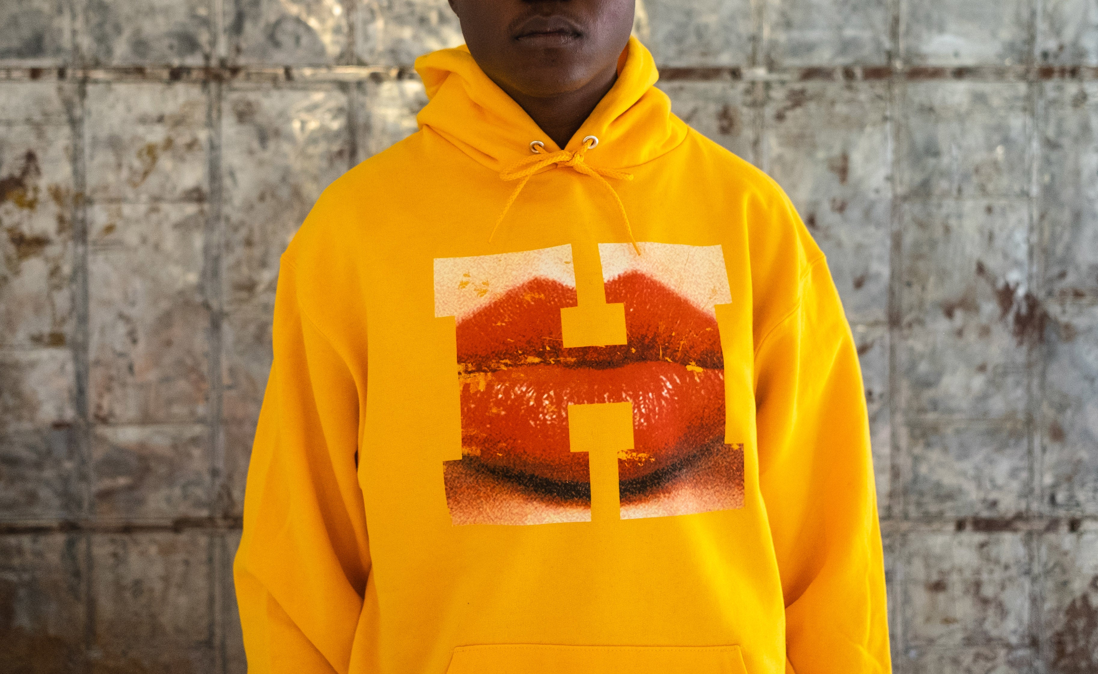 H E I R S x Champion N°8 Logo Letter Hooded Sweatshirt (Gold)