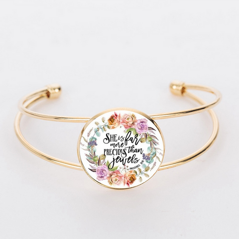 Proverbs 31 Glass Dome Bracelet