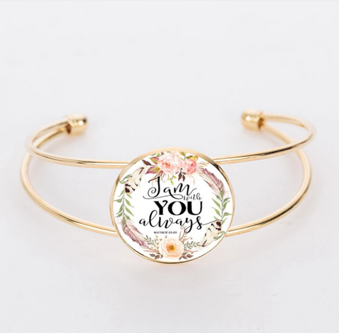 """I Am With You"" Glass Dome Bracelet"