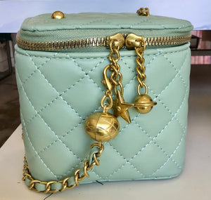 Micro-Mini Quilted Chain Bucket Handbag