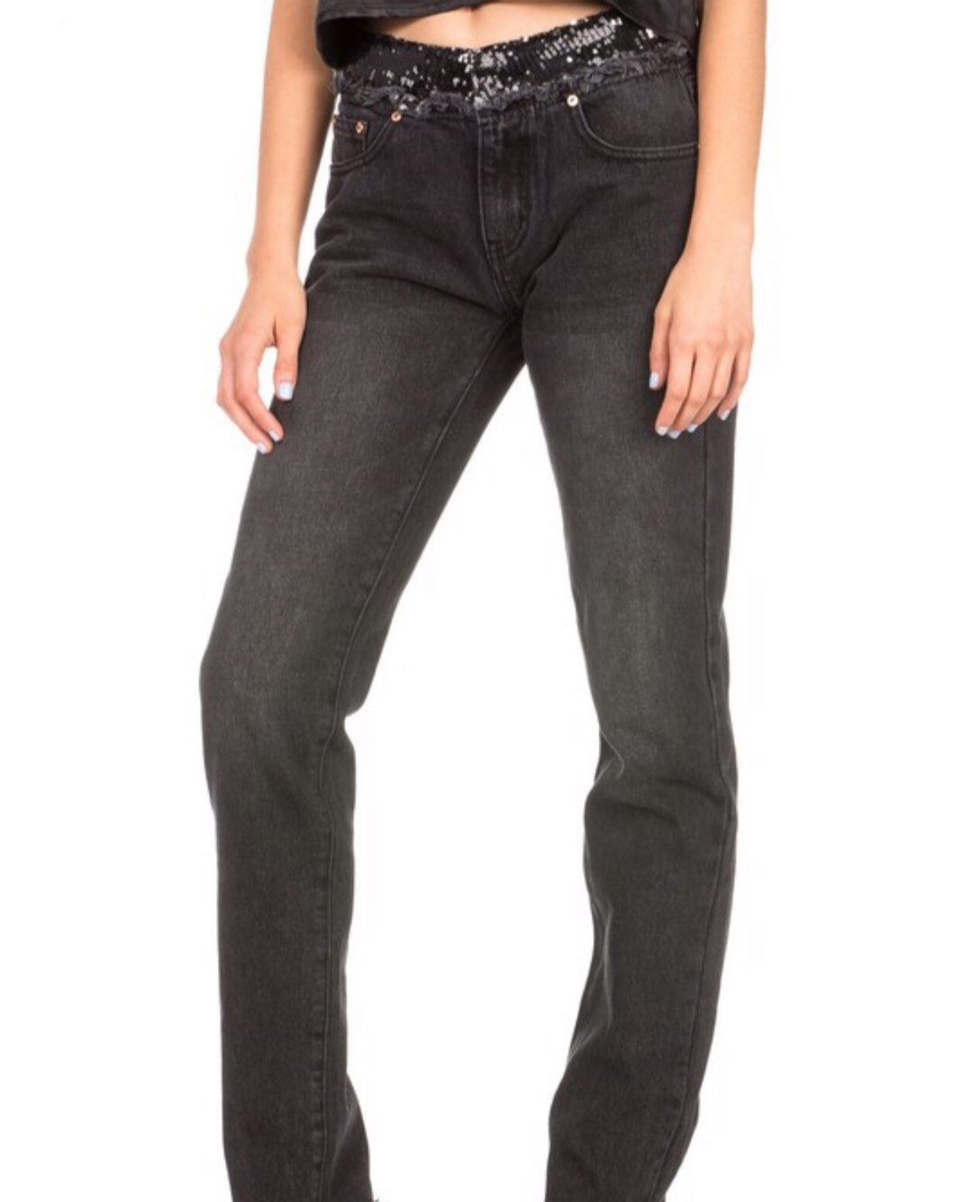 BLACK SEQUIN STRESSED JEANS