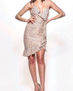 CHAMPAGNE SEQUIN DETAILED DRESS