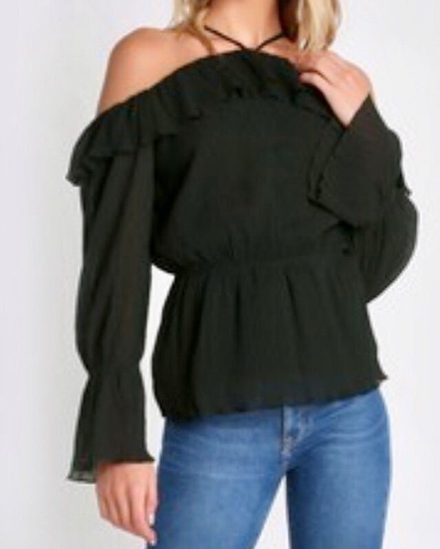 BARE SHOULDERS LONG SLEEVE CRINKLE TOP