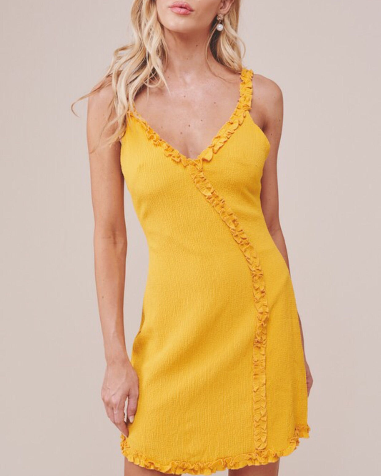 MUSTARD AND WHITE FITTED DETAIL DRESS