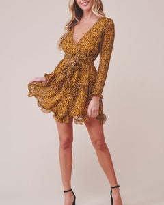 LEOPARD DEEP V LONG SLEEVE DRESS