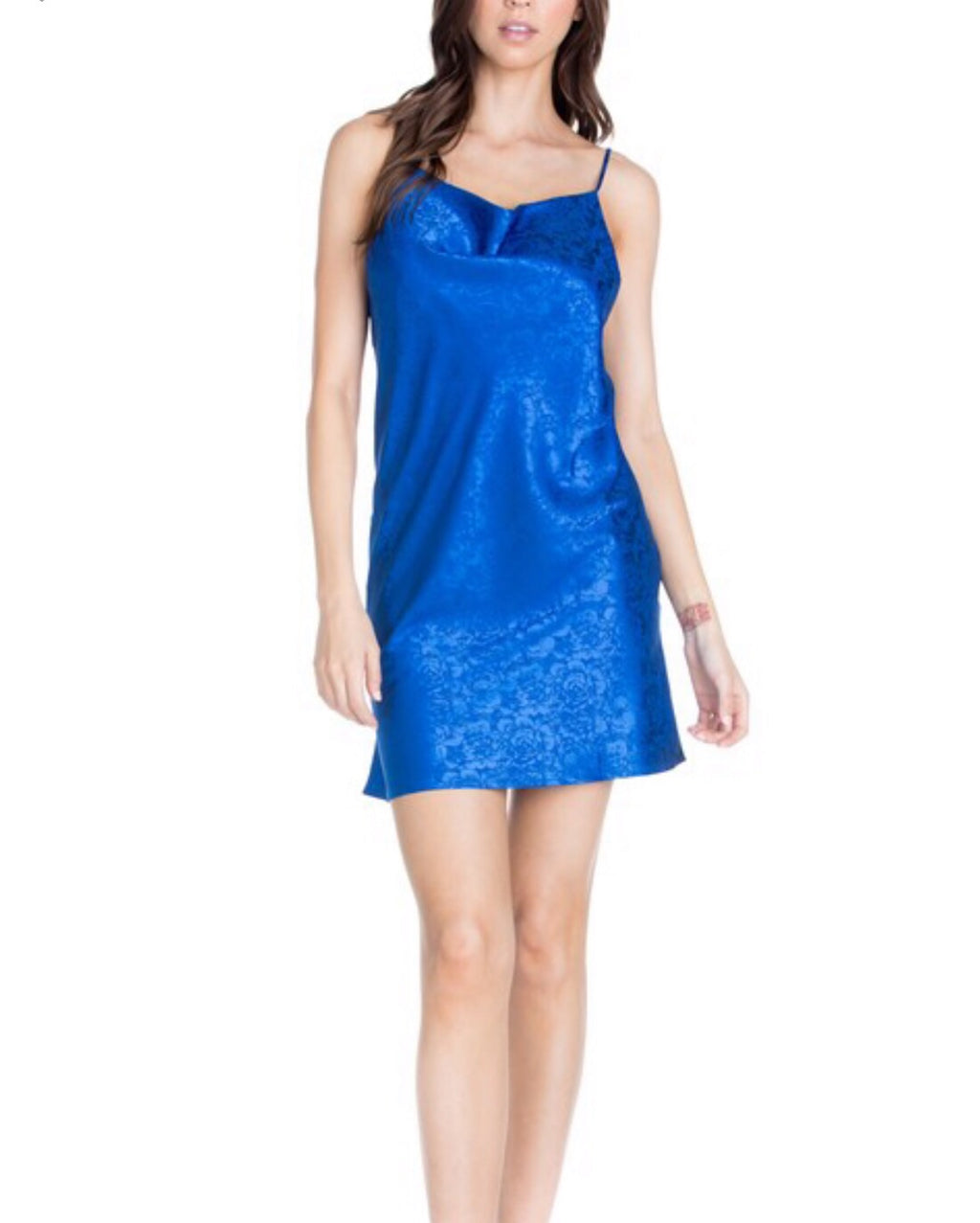 ROYAL BLUE TEXTURED SLIP DRESS