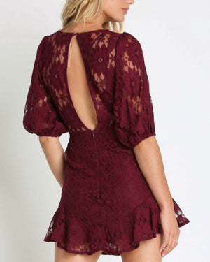 Plum Lace Ruffle Dress