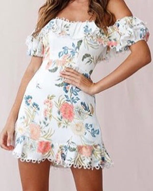 Off The Shoulder Floral Eyelet Detail Dress