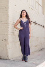 Navy Lace-Up Jumpsuit