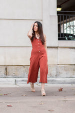 BUTTON DOWN RIBBED JUMPSUIT
