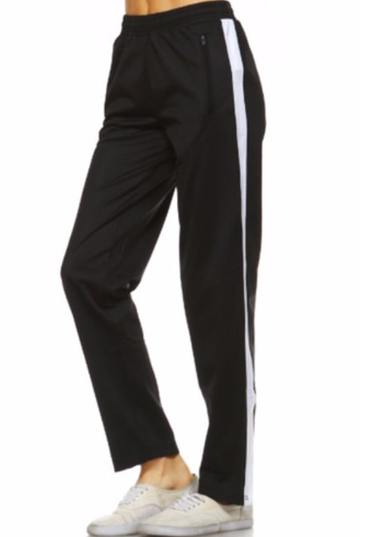 Black With White Side Strip Drawstring Pants