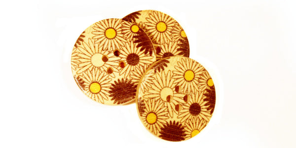 Wood Button | Yellow & Black Daisy | 30mm