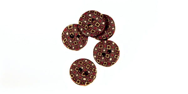 Fimo Button | Black, Red & White Geometric | 12mm