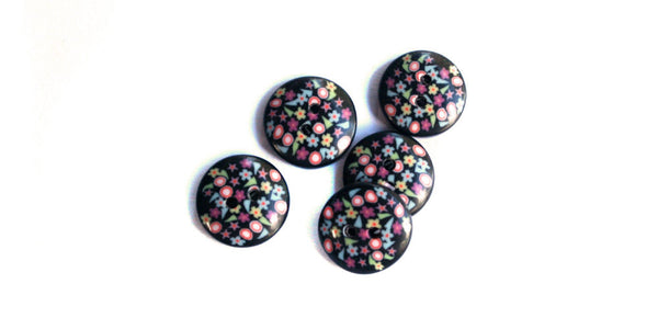Fimo Button | Black Floral | 12mm