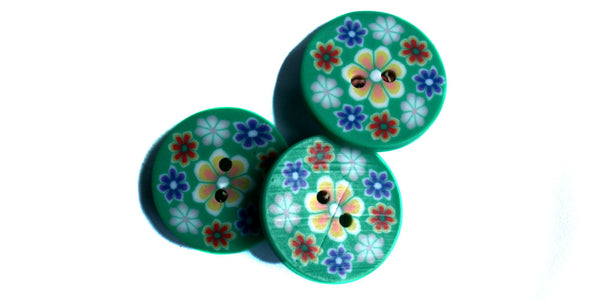 Fimo Button | Jade Floral | 20mm