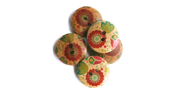 Wood Button | Red Flower | 18mm
