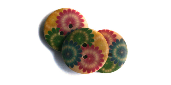 Wood Button | Colourful Daisies | 20mm