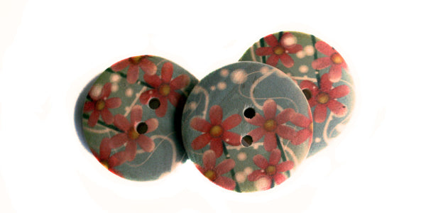 Wood Button | Floral | 25mm