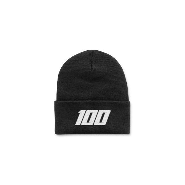 Team 100 - Beanie, Folded (Blk/White)