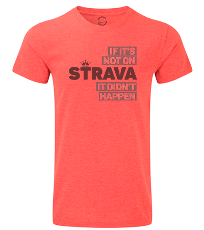 Mens 'If it's not on Strava it didn't happen' Printed Cycling T-Shirt - red