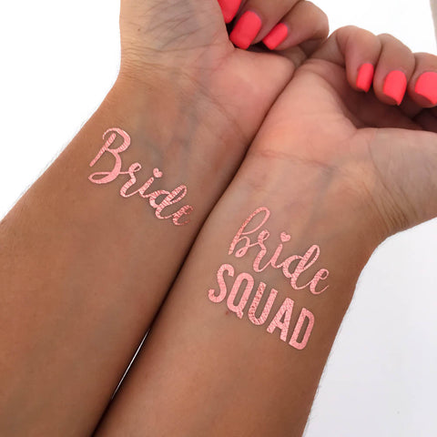 Bride squad rose gold bachelorette tattoos