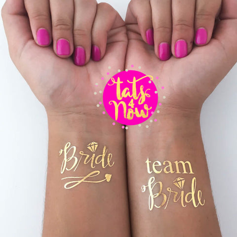 11 GOLD SCRIPT Team Bride & Bride party tattoo