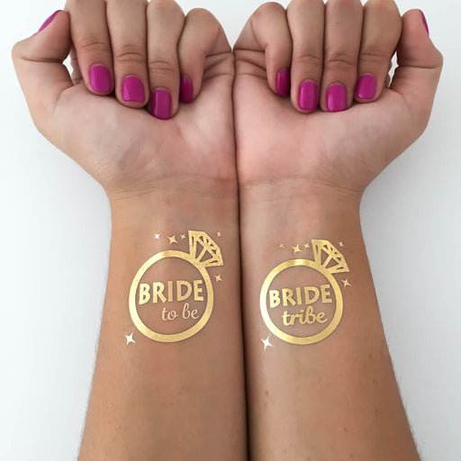 Bride tribe and bride to be diamond ring bachelorette party gold foil tattoos