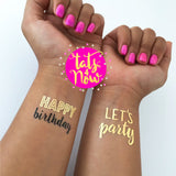 Set of 16 Happy Birthday & Let's Party tattoos