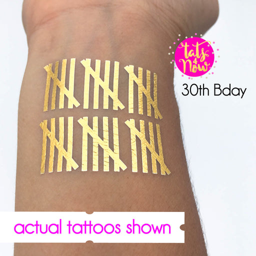 30th birthday tally mark gold tattoo