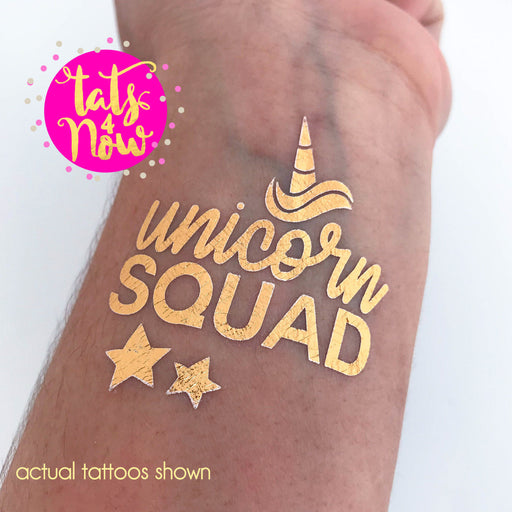 Unicorn squad party favor tattoos