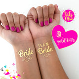 8 Team Bride & Bride Gold temp tattoo with heart